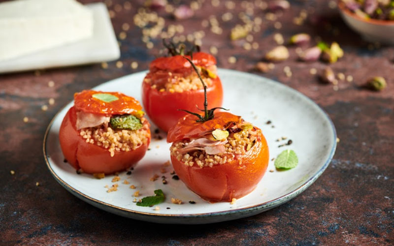 Tomatoes Stuffed with Couscous and Mortadella