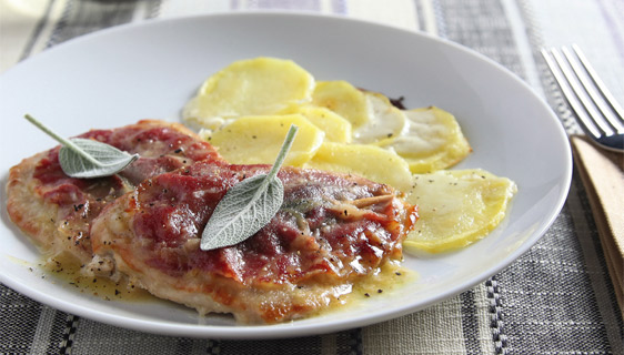 Saltimbocca all'Emiliana con patate al latte