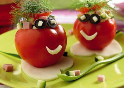 Topolini di pomodori ripieni con mortadella e cous cous
