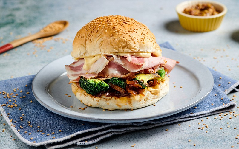 Porchetta Burger with broccoli