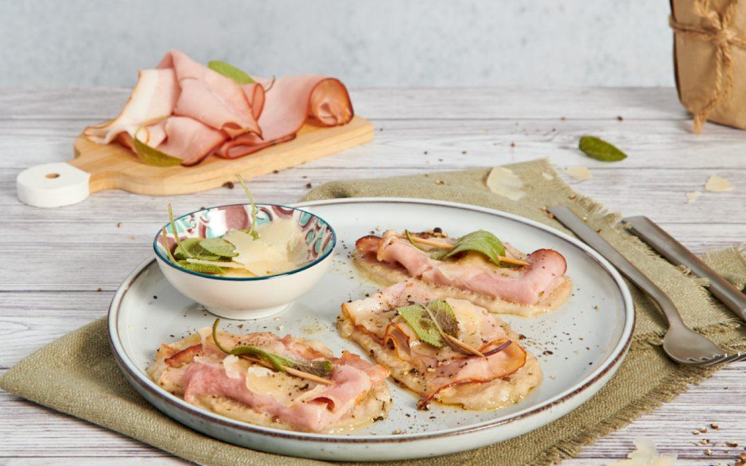 Saltimbocca con prosciutto cotto, salvia e parmigiano